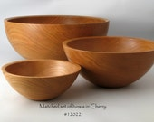 Matched Set of 3 Wooden Bowls in Cherry