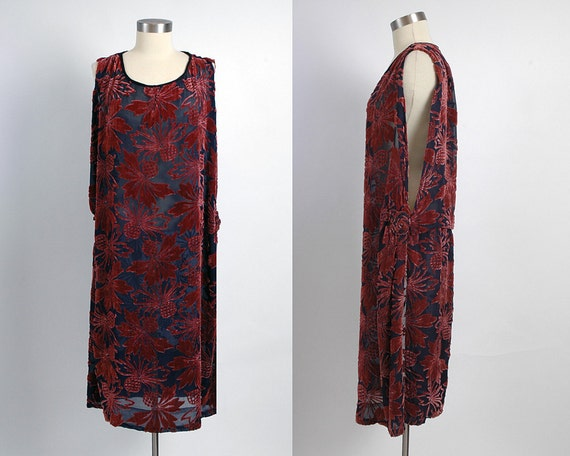 Beautiful 1920's Burgundy Burnout Velvet Two-Piece Dress Set, Sheer Dark Blue Chiffon, Sleeveless or with Sleeves, 20's