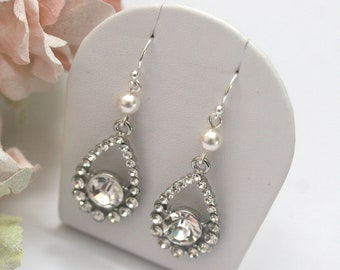 LIMITED OFFER Rhinestone and Swarovski pearl earrings, Vintage style diamante earrings, Rhinestone bridal accessories