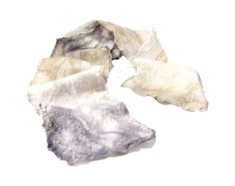 Nuno Felt Scarf Wool Scarf Gift for Her Spring Scarf Spring Fashion Fall Scarf Womens Scarf Cream Charcoal and Taupe on White Silk Gauze
