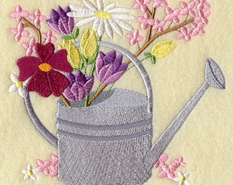 FASHION FLOWER  WATERING Can - Machine Embroidered Quilt Block (AzEB)