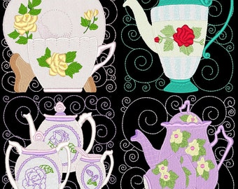 ITS TEA TIME Blocks- 12 Machine Embroidery Designs Instant Download 4x4 hoop (AzEB)