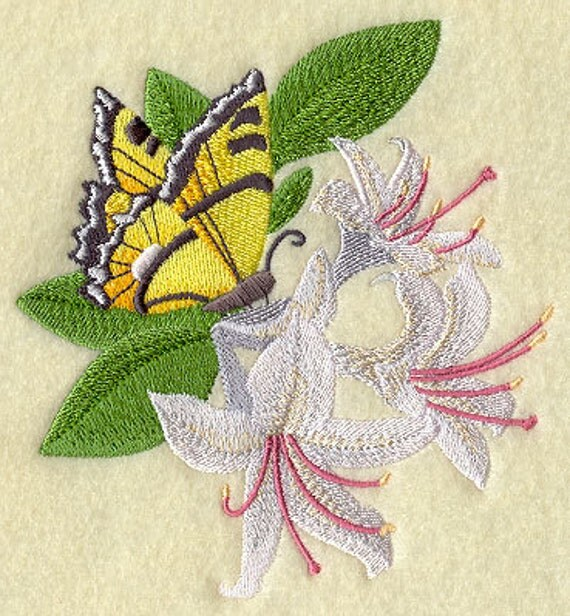 HONEYSUCKLE & BUTTERFLY- Machine Embroidered Quilt Block (AzEB)