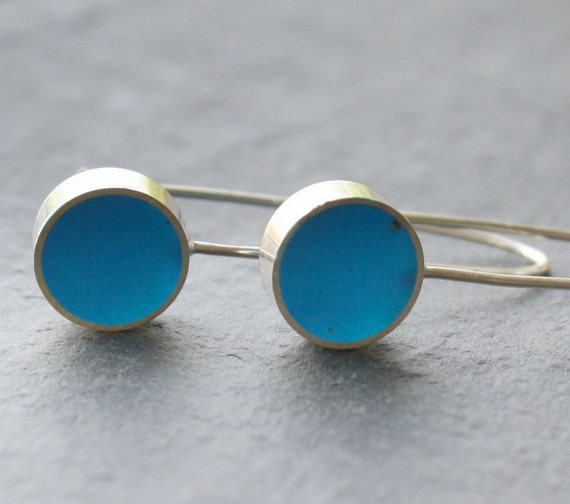 Turquoise Blue Resin and Silver Polka Spots Earrings