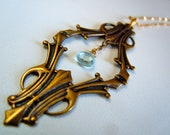 Victorian Garden Art Nouveau Blue Topaz Brass and Gold Necklace