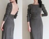 pewter starry night gown . dark silver beaded dress .medium .sale