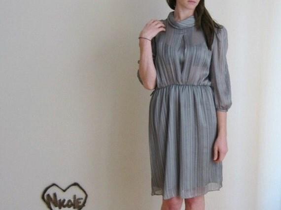 sheer striped secretary dress . slate gray cowl neck frock .small.medium .sale