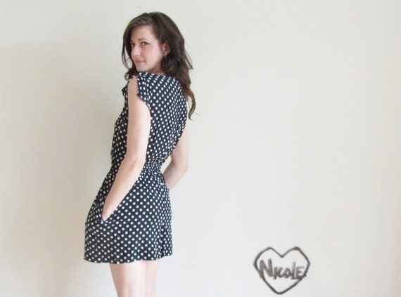 polka dot romper . 1980 one piece jumper . black white .small.medium .sale