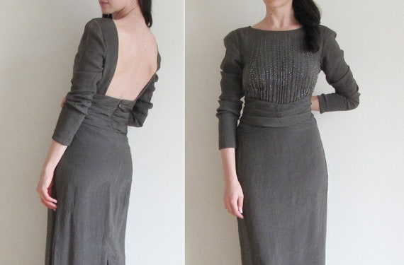 pewter starry night gown . dark silver beaded dress .medium .sale