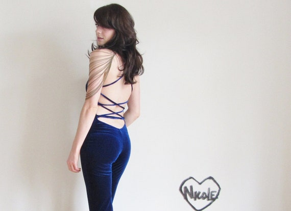 blue velvet disco fever . stretch jumpsuit high class 1970 prostitute .extra small.small.xs
