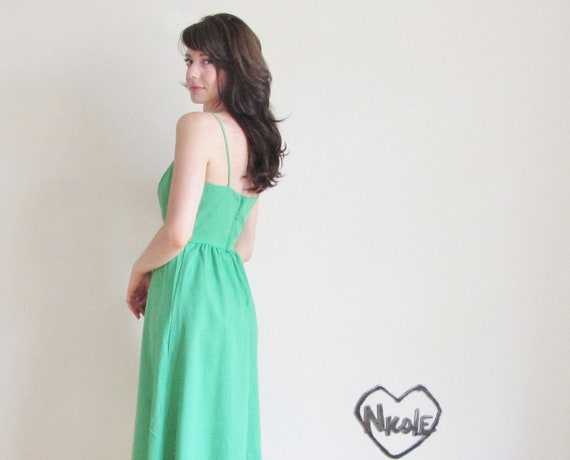 grass green dress . 1970 summer a line linen .extra small.small.xs