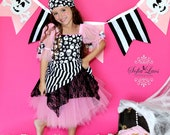 Pirate costume Pink  Pirate tutu Halloween costume 3t boutique custom dress