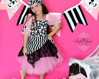 RESERVED Pirate costume Pink  Pirate tutu Halloween costume 7 WITH HEADSCARF