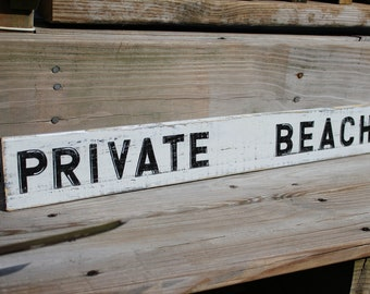 Private Beach Sign Nautical Coastal  Decor
