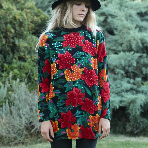 Floral Sequence Long Sleeve T Shirt - M/L