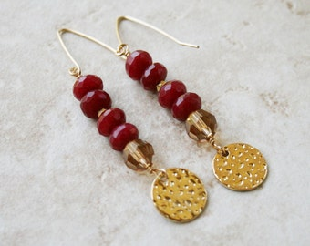 Ruby earrings beaded jewelry red stone earrings gold and vermeil