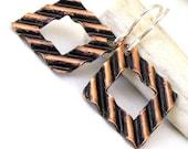 Copper Square Earrings Geometric Modern Earings Rustic Copper Earrings Mod Modern Earrings Wave Earrings