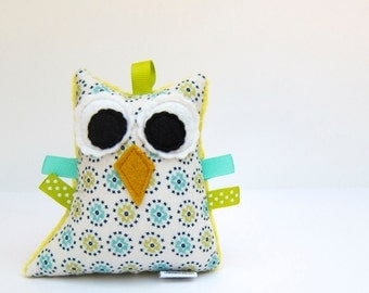 Owl Plush Rattle Baby Toy Small Stuffed Owl Minky Plush Aqua Teal Apple Green Ready to Ship