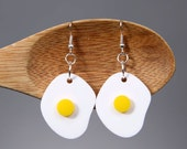 Dangle Earrings, Acrylic Egg Earrings, Wearable Fake Food