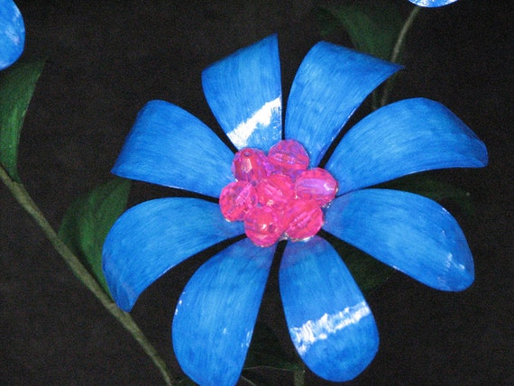 Metal Flowers Flourescent Blue and Pink