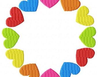 Heart Circle Frame Machine Embroidery Design