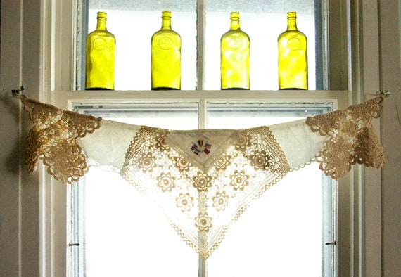 Window Valance, curtain, vintage napkins, embroidered linens, crocheted doilies, Flying the Flag