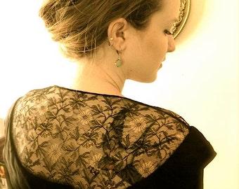 Vintage Dress 30s Lovely Black Crepe Vintage 30s 40s Dress with Lace M L - on sale