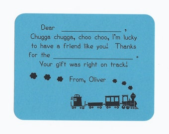 Choo Choo Train Fill in the Blanks Thank You Notes - Great for Boys of All Ages