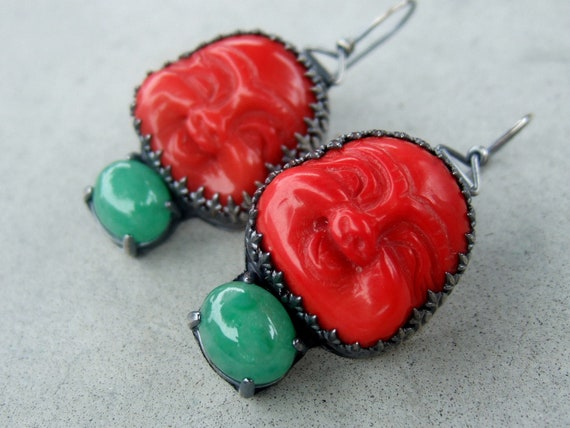 RESERVED FOR CARRIE...Coral and Jade Buddha Earrings