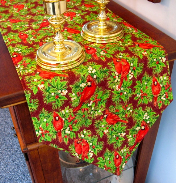 Red christmas cardinal table runner 54 reversible red for 120 table runner christmas