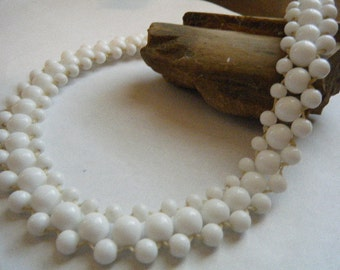 Woven Glass Bead Choker White