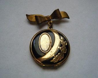 Locket Bow Enamel Black Gold Mourning Brooch