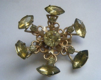 Yellow Rhinestone Brooch Round Marquise Lacy
