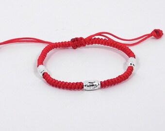 Silver Beaded Good Luck Red String Bracelet