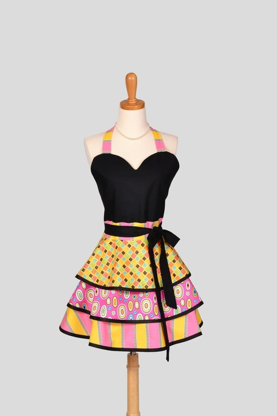Womens Flirty PinUp Sweetheart Apron : Handmade Retro Vintage Pin Up in Modern Colorful Shapes
