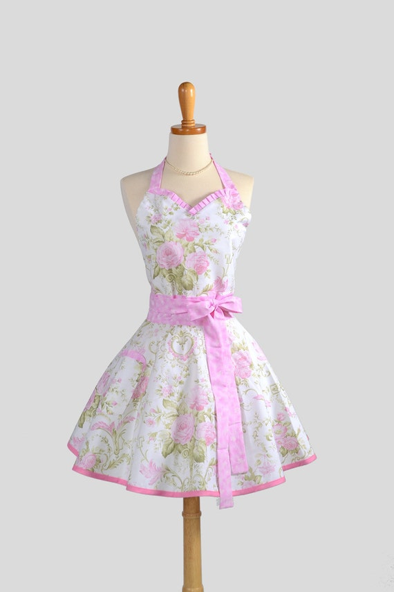 Sweetheart Retro Apron . Sexy Kitchen Apron Cute and Flirty Retro in Butterflies and Roses Pink and White