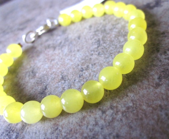 Simple Beaded Bracelet . Bright Yellow Candy Jade Gemstone . Modern . Mod . Stackable . Vibrant . Affordable . Gifts Under 20