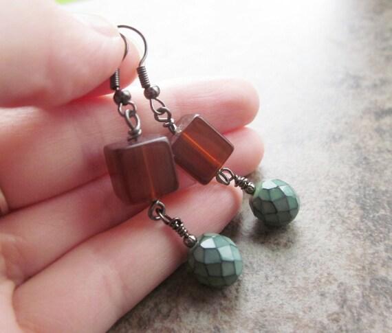 Vintage Lucite & Czech Glass Earrings in Burnt Orange, Green and Black . Wire Wrapped Earrings in Gunmetal . OOAK / One Of A Kind