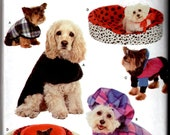 1999 UnCut Simplicity 8928 Craft Sewing Pattern - Dog Bed Covers in 4 Sizes and Dog Coats in 3 Sizes
