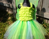 Tinker Bell Romper Tutu Costume - Large - 2 to 4 year - with accessories