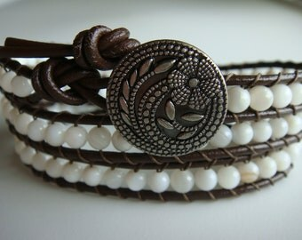 Shell Beaded Leather Wrap Bracelet