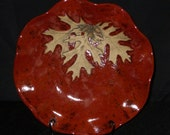 Red Serving Bowl with Oak leaves and Acorns