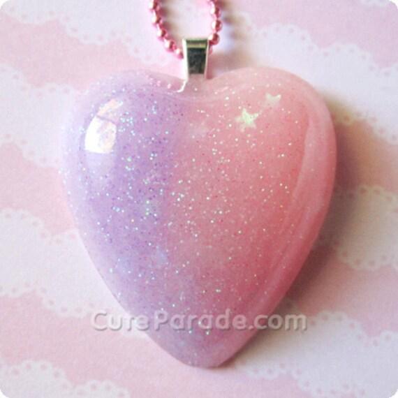 Glowing Galaxy Pastel Resin Heart Necklace Fairy Kei Kawaii Lolita