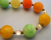 Reserved for Penny - Vintage Citrus Necklace Summer Fruit Colors & Brass Coil Beads