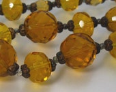 Vintage Necklace Amber Glass Faceted Beads - Long