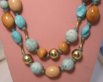 Vintage Beachy ART Necklace Aqua & Wood Beads - ART Jewelry Co
