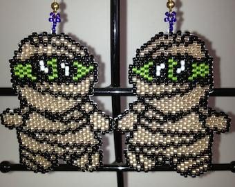 beaded mummy earrings