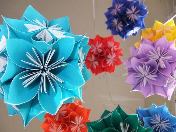 Rainbow Starburst Flower Ball Mobile~Flower Mobile~Paper Ball Mobile~Baby Mobile~Kusudama~Paper Flower Mobile~Baby Shower Gift~New Baby Gift