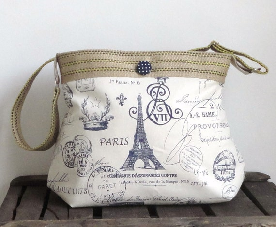 French Messenger Eiffel tower navy blue and ecru diaper bag with burlap