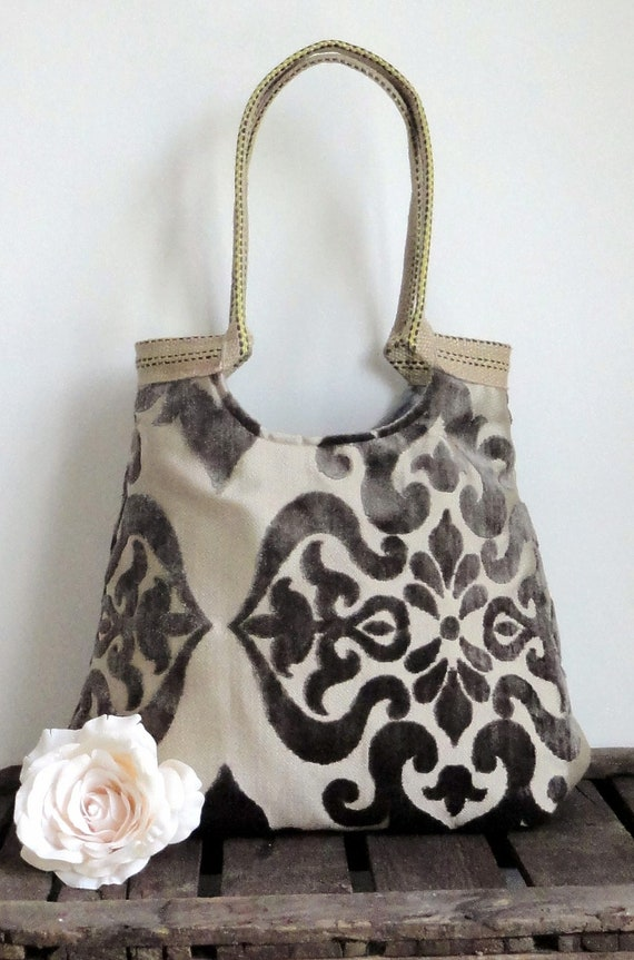 Taupe damask large carryall tapestry handbag with burlap WINTER FASHION